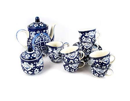 Blue Pottery Tea Set